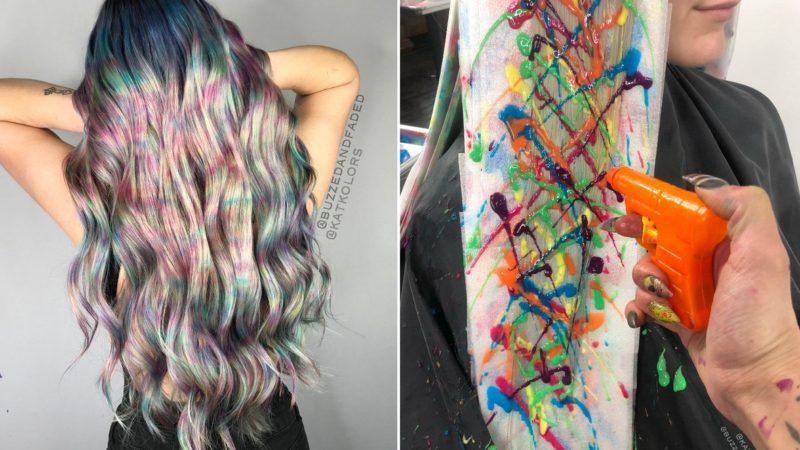 Dye hair with water guns