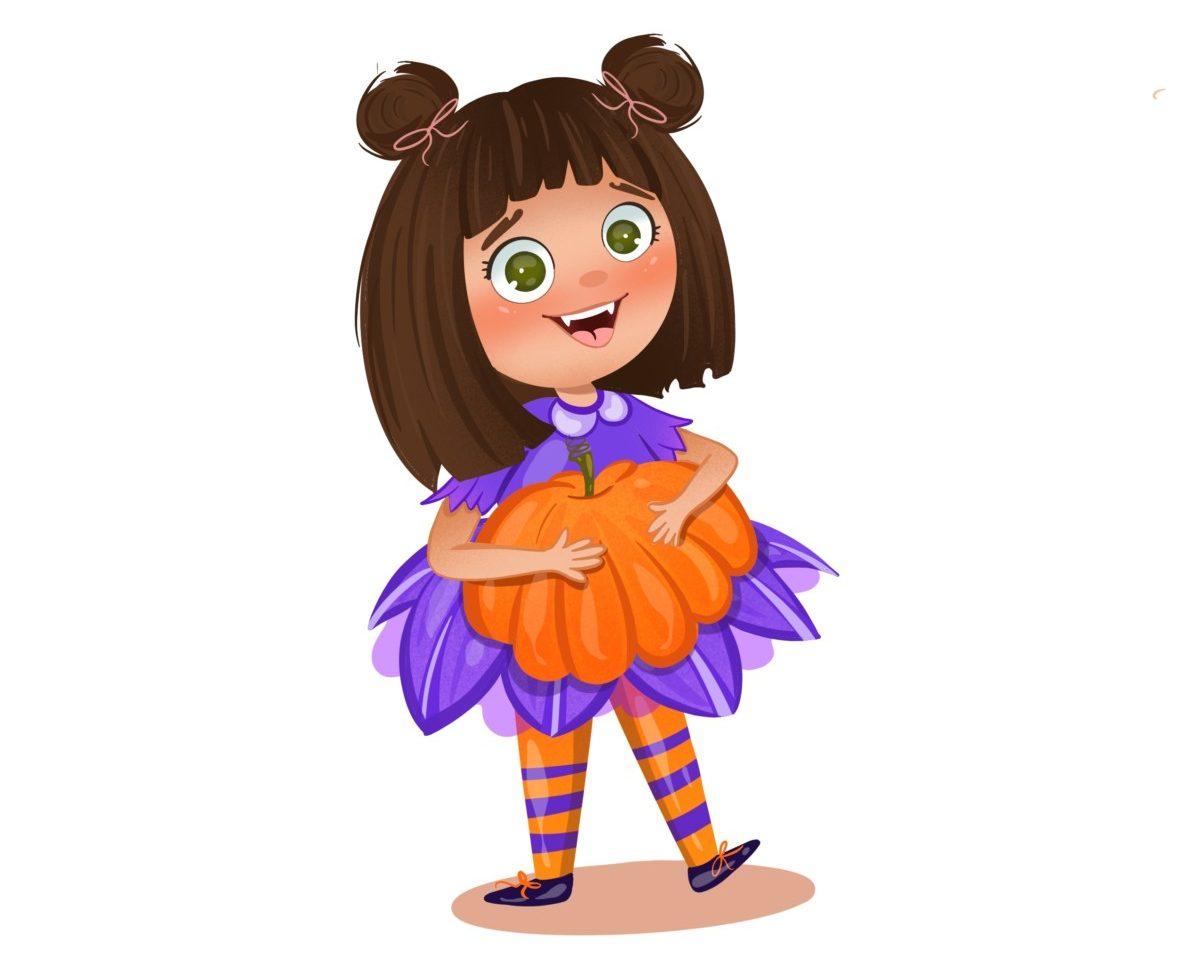 Penny holding pumpkin