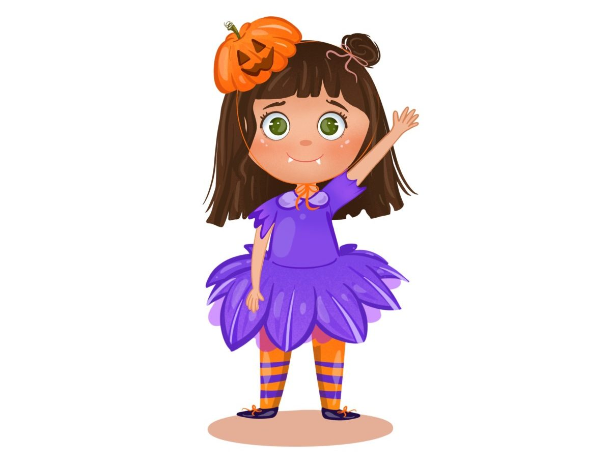 Penny with pumpkin hat